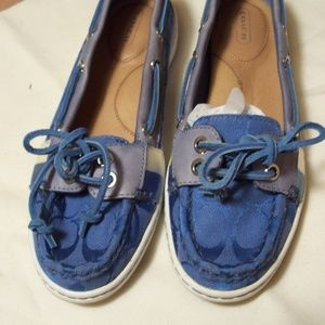COACH BLUE BOAT DECK SHOES SIGNATURE PATTERN 6
